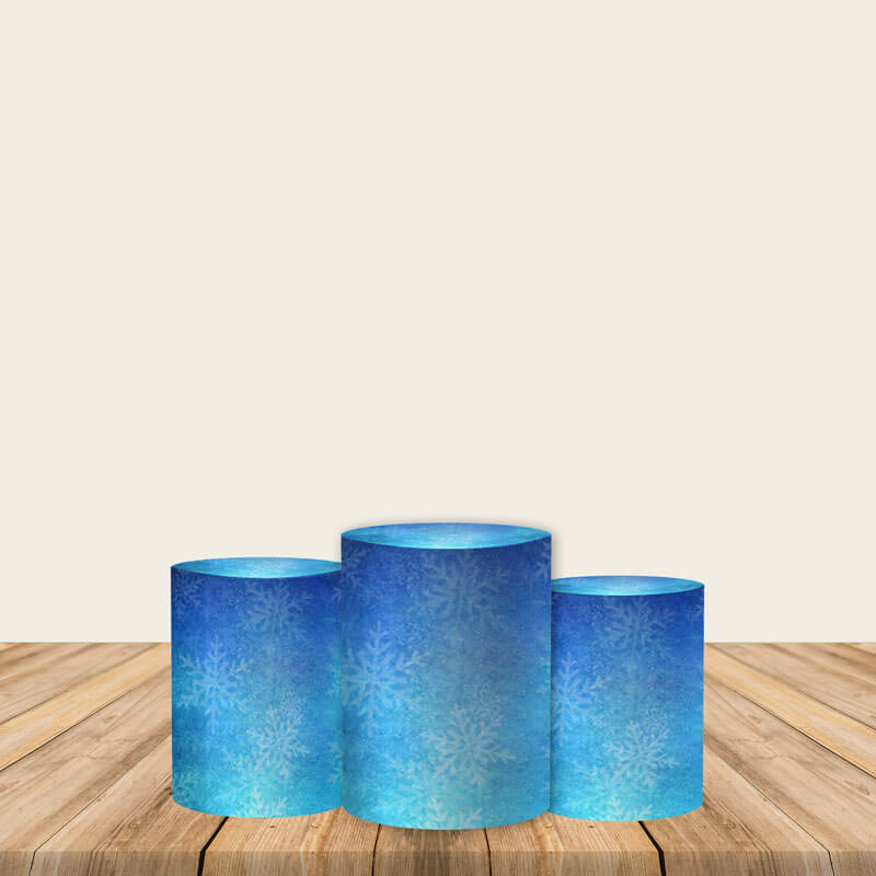 Snowflake Pedestal Covers Plinth Cover Printed Fabric Cylinder Pedestal Cover-ubackdrop