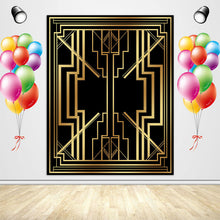 Load image into Gallery viewer, 1920s Themed Party Backdrop Black And Gold 30th 40th Birthday Backdrop-[product_tag]-ubackdrop