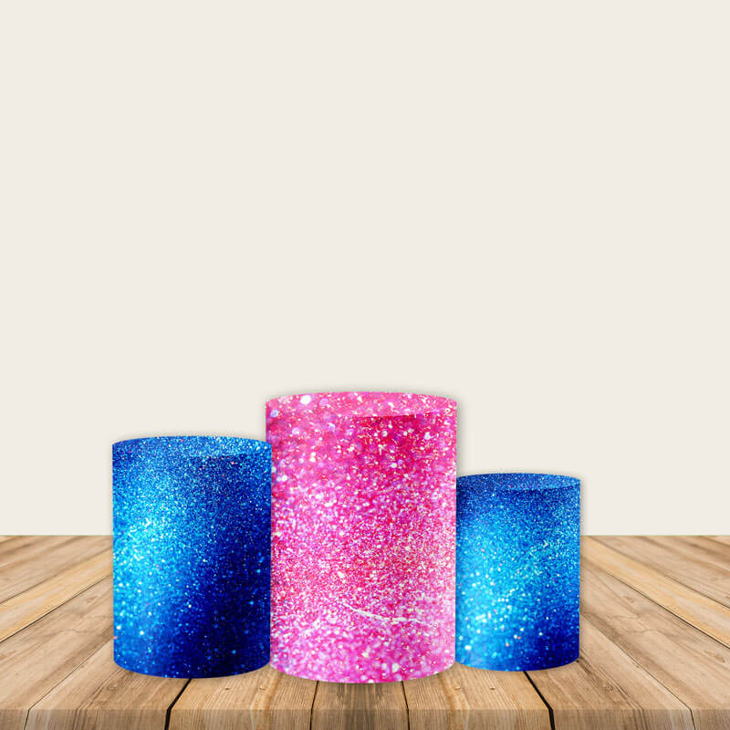 Pink Blue Bling Pedestal Covers Plinth Cover Printed Fabric Cylinder Pedestal Cover-Cylinder/Round Covers-[product_tag]-ubackdrop