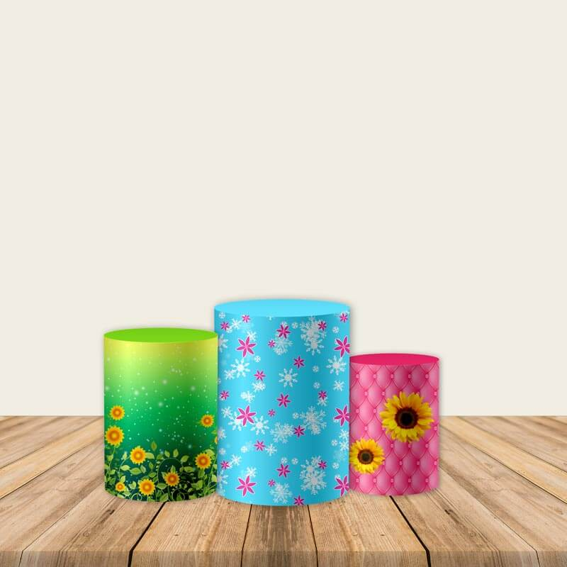 Frozen 2 Sunflower Pedestal Covers Plinth Cover Printed Fabric Pedestal Cover-Cylinder/Round Covers-[product_tag]-ubackdrop