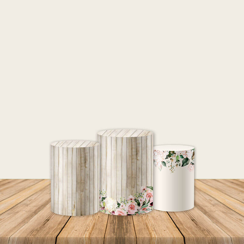 Floral Wood Pedestal Covers Plinth Cover Printed Fabric Pedestal Cover-ubackdrop