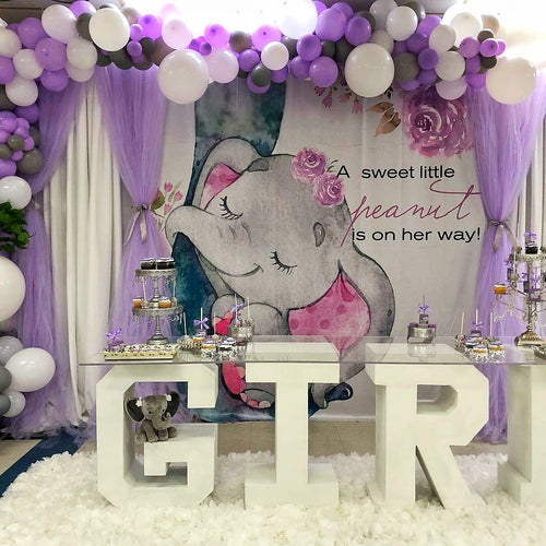 Elephant with Purple Flower for Baby Shower - [product_tag] - ubackdrop