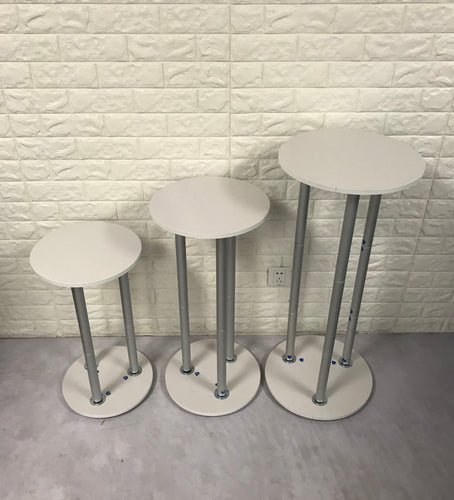 Round Display Cylinder Pedestals, White Party Round Plinths Custom Size Available
