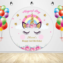 Load image into Gallery viewer, Magical Day Birthday Unicorn with Pink Flowers Custom Round Backdrop - [product_tag] - ubackdrop