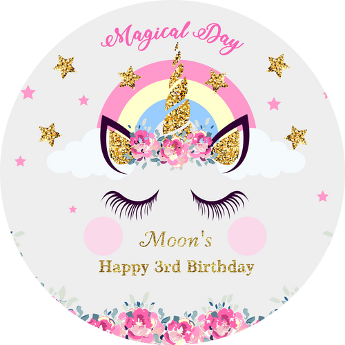Magical Day Birthday Unicorn with Pink Flowers Custom Round Backdrop-ubackdrop