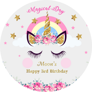 Magical Day Birthday Unicorn with Pink Flowers Custom Round Backdrop - [product_tag] - ubackdrop