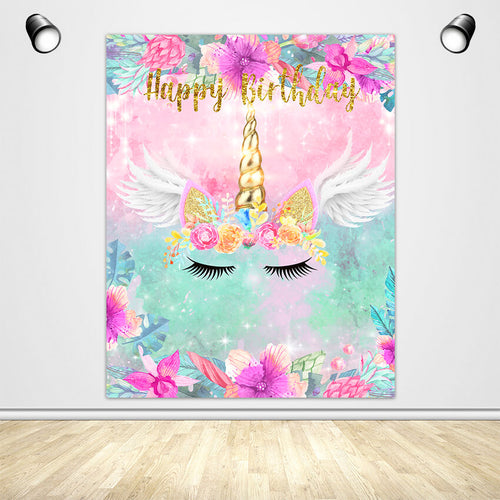 Unicorn Theme with Flowers and Wings Custom Backdrop for Birthday Party-ubackdrop