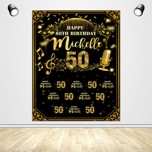 Golden Birthday Theme Custom Backdrop