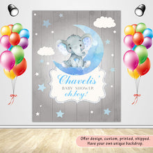 Load image into Gallery viewer, Elephant Boy Table Backdrop Moon& Clouds&Stars Kids Birthday