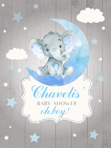 Elephant Boy Table Backdrop Moon& Clouds&Stars Kids Birthday