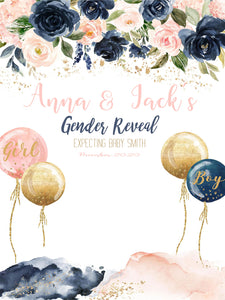 Pink Blue Floral Custom Backdrop for Baby Shower Gender Reveal Party Backdrop-ubackdrop
