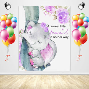 Elephant with Purple Flower for Baby Shower-ubackdrop