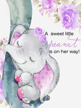 Load image into Gallery viewer, Elephant with Purple Flower for Baby Shower