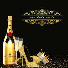 Load image into Gallery viewer, Black and Gold Backdrop 50th Birthday Backdrop Ideas Champagne High Heels Wine Glass Crown-ubackdrop