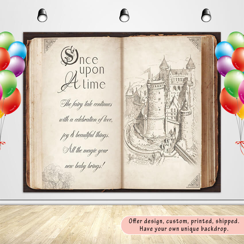 Once Upon a Time Story Book Backdrop Storybook Party Backdrop Banner-[product_tag]-ubackdrop