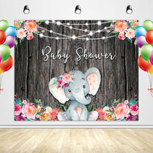 Load image into Gallery viewer, Elephant Baby Shower Backdrop Custom Baby Shower Backdrop Ideas for Girl-[product_tag]-ubackdrop