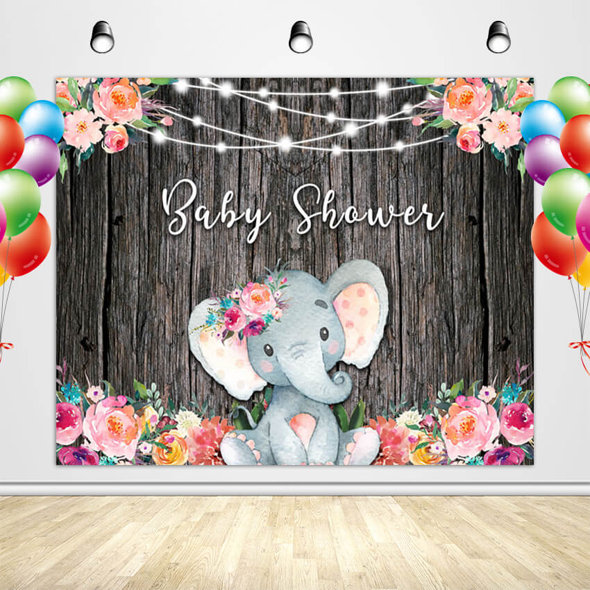 Elephant Baby Shower Backdrop Custom Baby Shower Backdrop Ideas for Girl-[product_tag]-ubackdrop