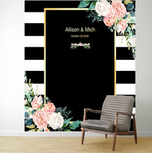 Load image into Gallery viewer, Black White Stripes Blush Floral Wedding Backdrop - [product_tag] - ubackdrop