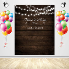 Load image into Gallery viewer, Rustic Wood Floral Backdrop String Lights Wedding Backdrop - [product_tag] - ubackdrop