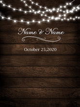 Load image into Gallery viewer, Rustic Wood Floral Backdrop String Lights Wedding Backdrop-ubackdrop