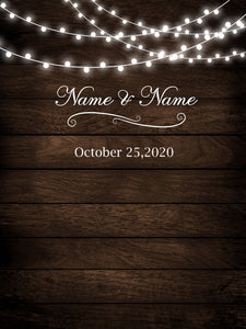 Rustic Wood Floral Backdrop String Lights Wedding Backdrop-ubackdrop