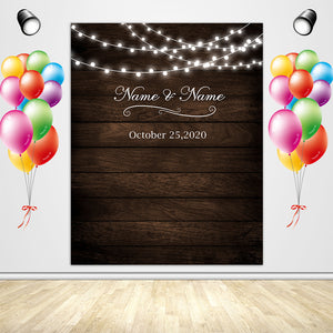 Rustic Wood Floral Backdrop String Lights Wedding Backdrop - [product_tag] - ubackdrop