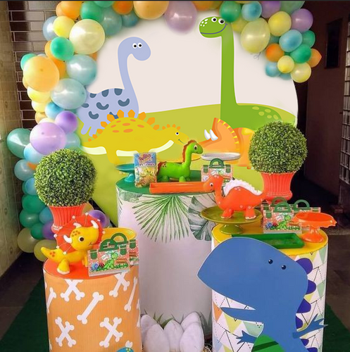Cartoon Dinosaur Custom Round Backdrop Baby Shower Birthday Party Decorations-ubackdrop