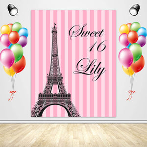 16th Birthday Backdrop Eiffel Tower Pink Stripes Birthday Party Decoration - Designed, Printed and Shipped-[product_tag]-ubackdrop