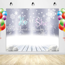 Load image into Gallery viewer, Snowflake Gender Reveal Backdrop He or She Winter Themed Party Banner - Designed, Printed and Shipped-[product_tag]-ubackdrop