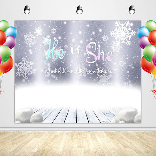 Snowflake Gender Reveal Backdrop He or She Winter Themed Party Banner - Designed, Printed and Shipped-ubackdrop