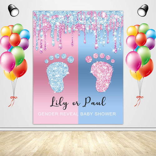 Blue or Pink Gender Reveal Backdrop Footprint Baby Shower Backdrop - Designed, Printed and Shipped-ubackdrop