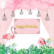 Load image into Gallery viewer, Flamingo Backdrop Pink Flamingo Theme Birthday Party Decoration Banner for Girls-ubackdrop