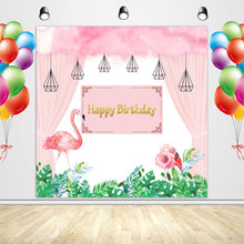 Load image into Gallery viewer, Flamingo Backdrop Pink Flamingo Theme Birthday Party Decoration Banner for Girls