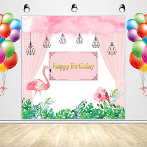 Flamingo Backdrop Pink Flamingo Theme Birthday Party Decoration Banner for Girls-ubackdrop