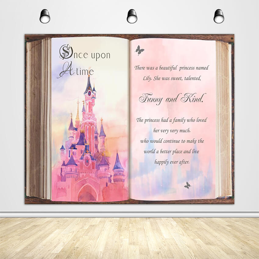 Fairytale Story Book Backdrop Once Upon a Time Birthday Party Decoration Banner for Girls