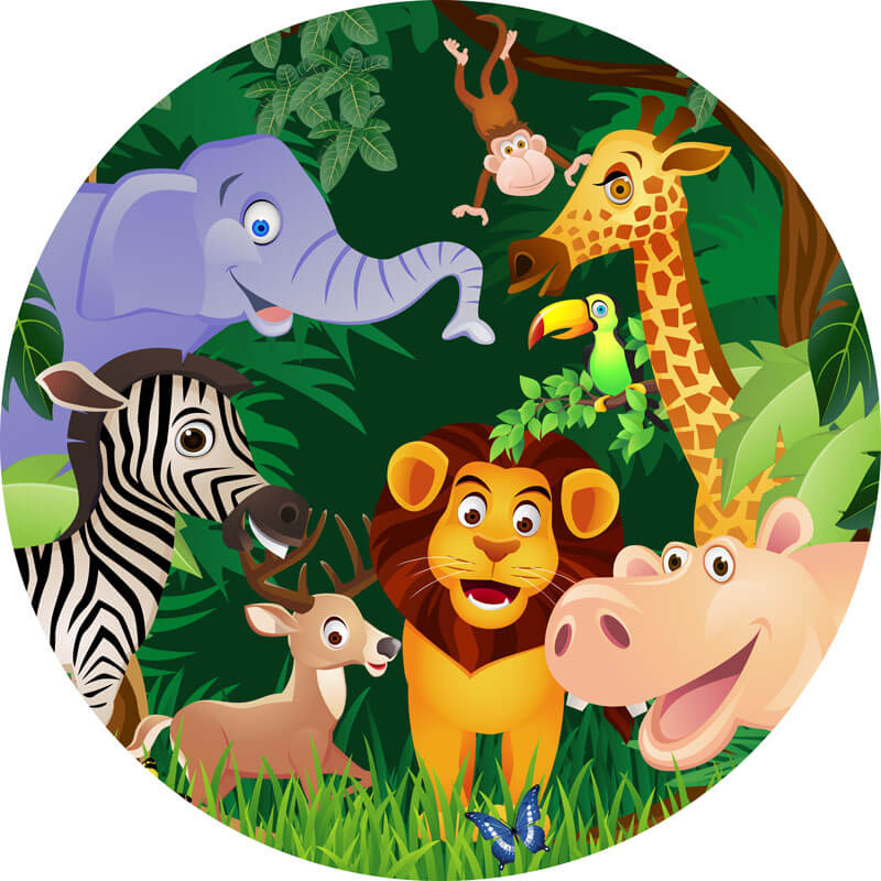 Safari Animals Round Backdrop | Kids First Birthday Party Decoration - Designed, Printed and Shipped-ubackdrop