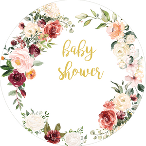 Custom Floral Round Backdrop | Baby Shower Decoration - Designed, Printed and Shipped-ubackdrop