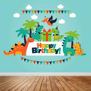 Dinosaur Party Children's Birthday Party with Green Sky Backdrop Custom Backdrop