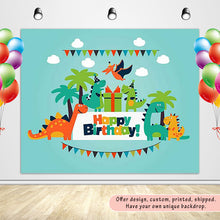Load image into Gallery viewer, Dinosaur Party Children's Birthday Party with Green Sky Backdrop Custom Backdrop