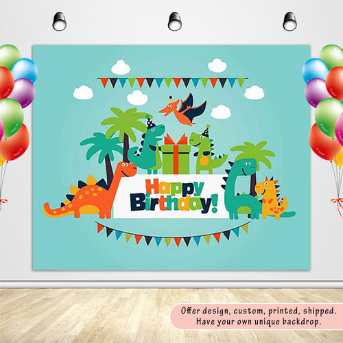 Dinosaur Party Children's Birthday Party with Green Sky Backdrop Custom Backdrop-ubackdrop