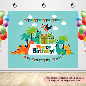Dinosaur Party Children's Birthday Party with Green Sky Backdrop Custom Backdrop - [product_tag] - ubackdrop