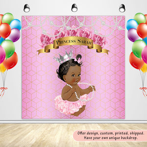 Royal Baby Shower Princess Pink Silver with Pearl Custom Backdrop