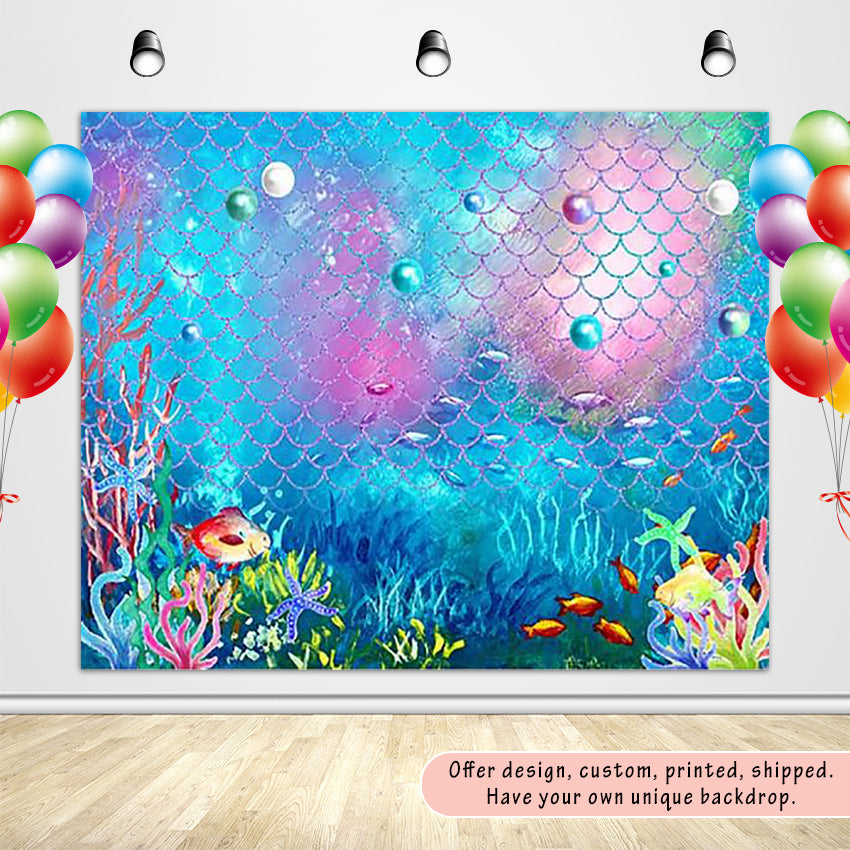 Colourful Seaweed Underwater World and Fish Scale Custom Backdrop - [product_tag] - ubackdrop