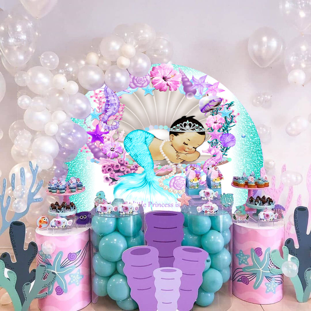 Little Mermaid Birthday Party Round Backdrop - [product_tag] - ubackdrop