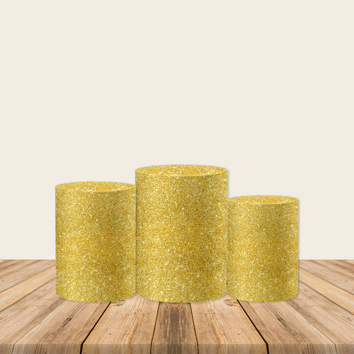 Glitter Gold Utility Pedestal Covers Plinth Cover Printed Fabric Pedestal Cover-Cylinder/Round Covers-[product_tag]-ubackdrop
