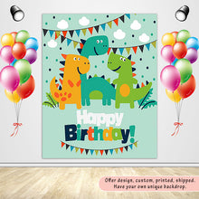 Load image into Gallery viewer, Dinosaur Invitation Custom Backdrop for Birthday-ubackdrop
