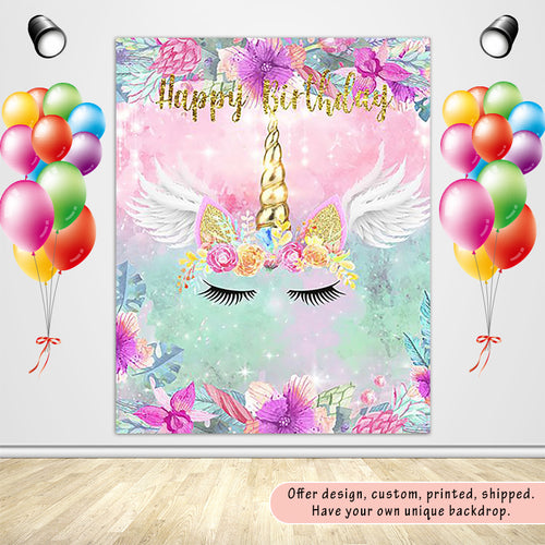 Unicorn Theme  with Flowers and Wings Custom Backdrop for Birthday Party