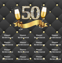 Load image into Gallery viewer, 50th Retirement Party Black with Golden Dots Custom Backdrop - [product_tag] - ubackdrop