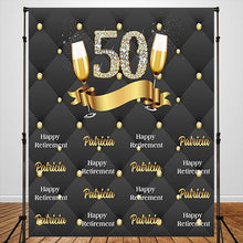 Load image into Gallery viewer, 50th Retirement Party Black with Golden Dots Custom Backdrop