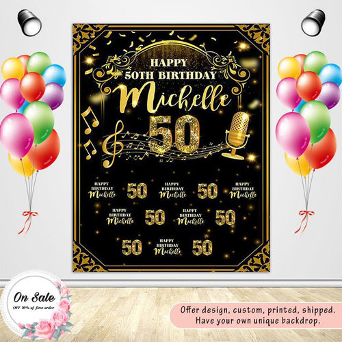 Golden Birthday Theme Custom Backdrop - [product_tag] - ubackdrop